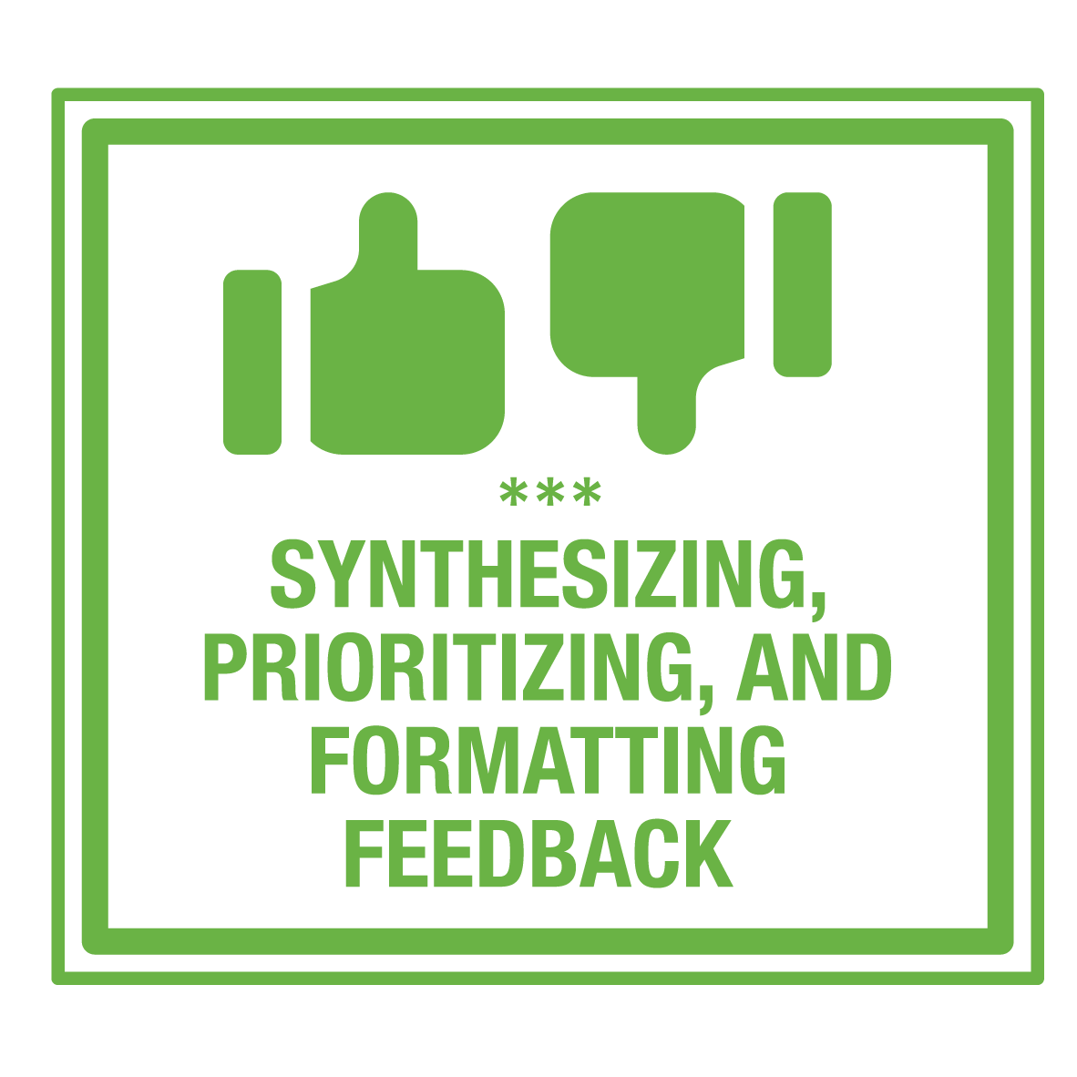 Image of synthesizing and prioritizing feedback AXIS stamp