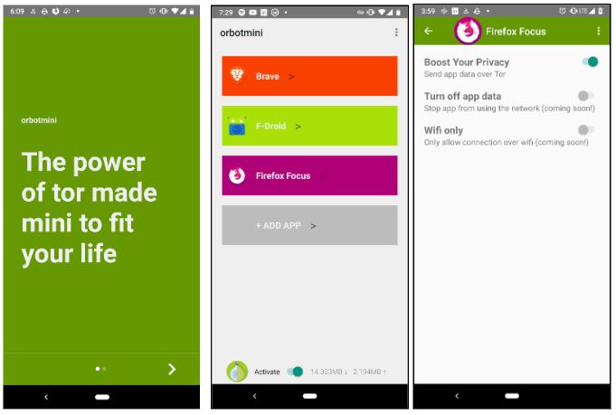 Screenshots of the orbotmini beta app